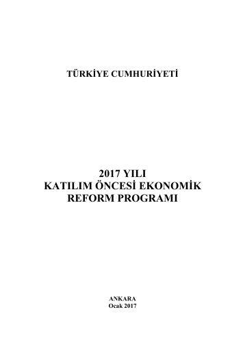 2017 YILI KATILIM ÖNCESİ EKONOMİK REFORM PROGRAMI