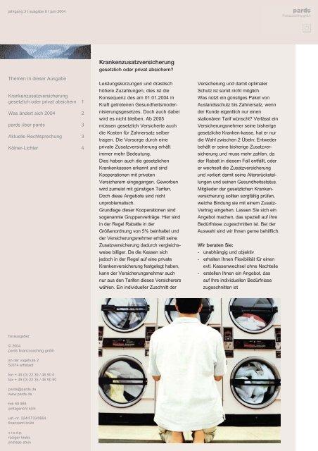 Ausgabe 6 - 06/2004 - Krankenzusatzversicherung