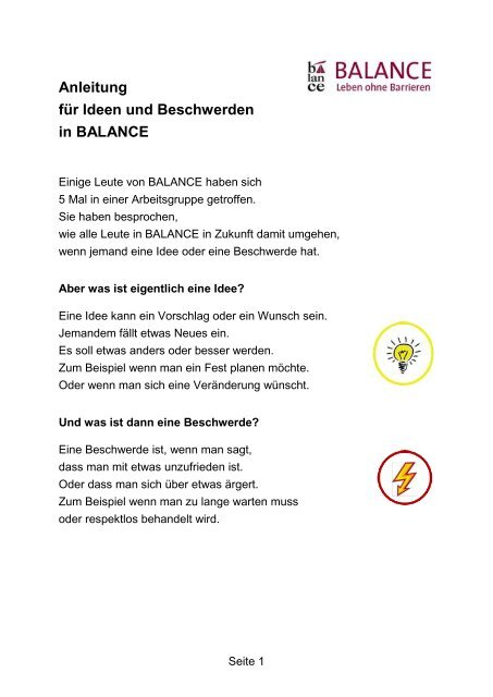 Anleitung für Ideen und Beschwerden in BALANCE7 GALKO