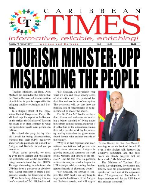 Caribbean Times 92nd Issue - Tuesday 7th February 2017