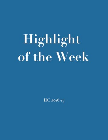 Highlight of the Week IIC 2016-17