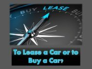 To lease a car or to buy a car?