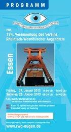 S am stag - Verein Rheinisch-Westfälischer Augenärzte