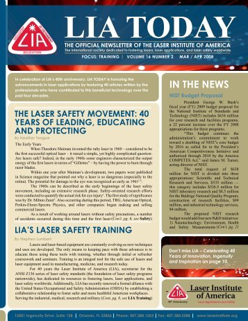 LIA tODAy - Laser Institute of America