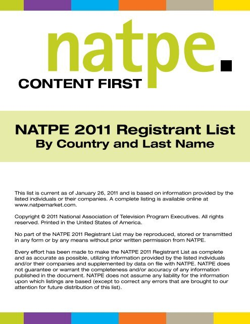 NATPE 2011 Registrants [List By Country and Last - NATPE