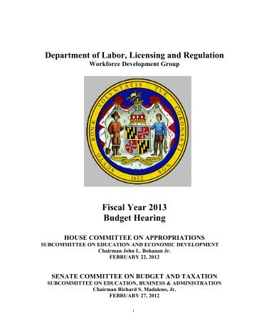 Fiscal Year 2013 Budget Hearing - Maryland Department of Budget ...