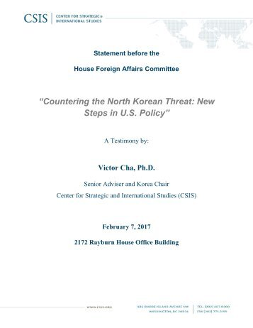 """""""Countering the North Korean Threat New Steps in U.S Policy"""""""