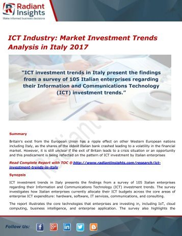 ict investment trends in australia Trends, aimed at informing public debate  investing in australia's ict capabilities and development will therefore enable future economic growth in doing so, the.