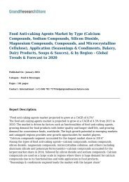 Food Anti-caking Agents Market-Global Trends & Forecast to 2020