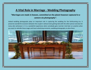 A Vital Role in Marriage - Wedding Photography