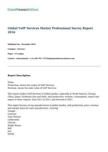 Global VoIP Services Market Professional Survey Report 2016