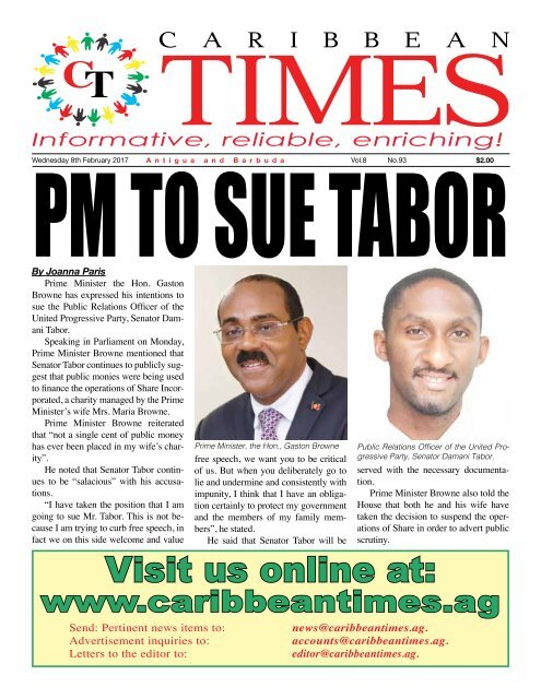 Caribbean Times 93rd Issue - Wednesday 8th February 2017