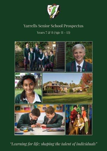 YARRELLS SENIOR PROSPECTUS 2016-2017