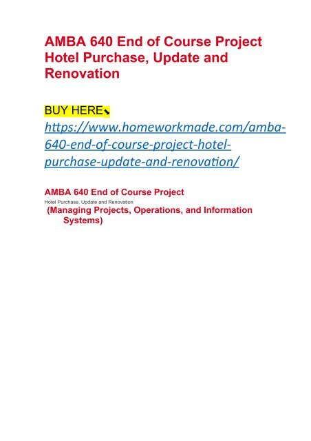 AMBA 640 Apple, Inc  (Managing Projects, Operations, and