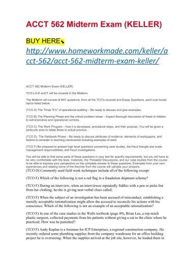 ACCT 562 Midterm Exam (KELLER)