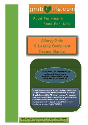 Grub 4 Life Recipe Manual & Allergen List February 2017 PDF