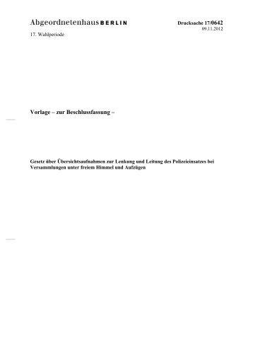 17/0642 - Abgeordnetenhaus von Berlin