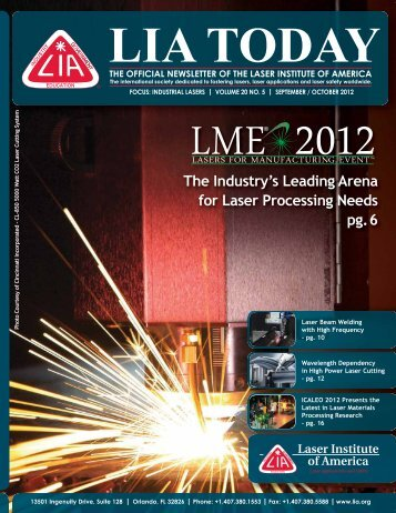 The Industry's Leading Arena for Laser Processing Needs pg.6