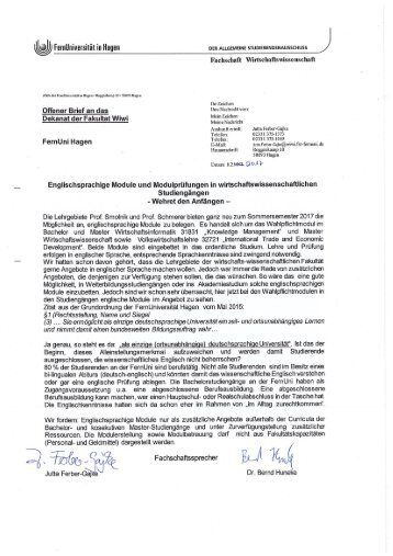 Offener Brief an die Fakultät WiWi