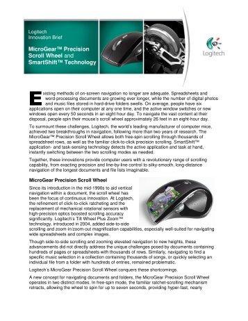 MicroGear™ Precision Scroll Wheel and SmartShift ... - Logitech