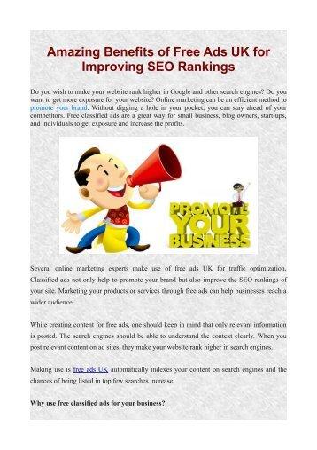 Amazing Benefits of Free Ads UK for Improving SEO Rankings
