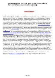 EDU620 EDU/620 EDU 620 Week 5 Discussion 1/DQ 1 Career and Technical Education -[[latest]]