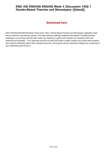 ENG 438 ENG438 ENG/438 Week 4 Discussion 1/DQ 1 Gender-Based Theories and Stereotypes -[[latest]]