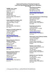 Approved Providers for Laser and Light Based Hair Removal