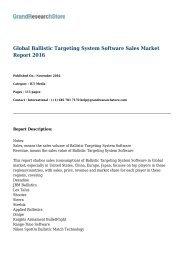 Global Ballistic Targeting System Software Sales Market Report 2016: GrandResearchStore