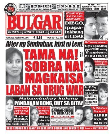 February 9, 2017 BULGAR: BOSES NG PINOY, MATA NG BAYAN