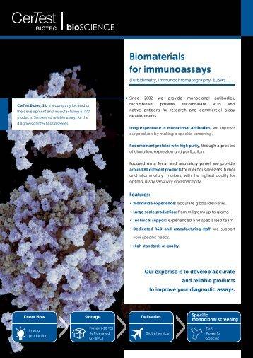 Biomaterials for immunoassays