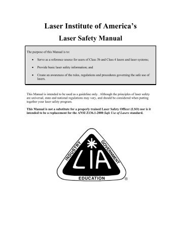 Laser Institute of America's Laser Safety Manual