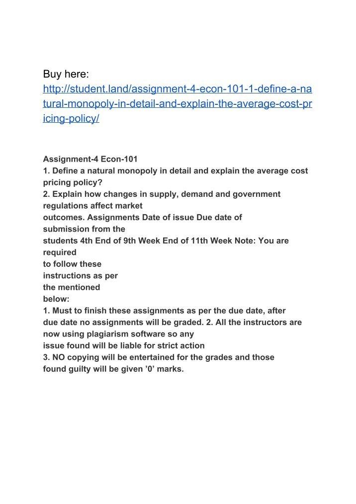 assignment 3 econ Econ 101_001assignment#3 econ 101_001assignment#3 隐藏 econ 101 instructor: dr fassil fanta assignment2 according to.