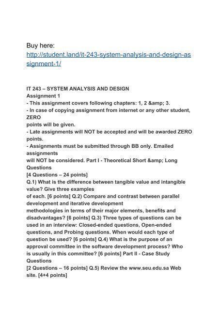 It 243 System Analysis And Design Assignment 1