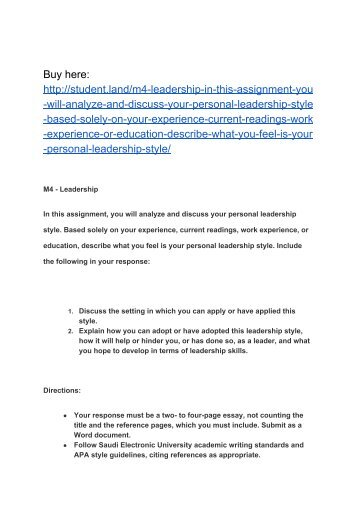 Importance Of Hard Work Essay M  Leadership In This Assignment You Will Analyze And Discuss Your  Personal Leadership Style William Faulkner Essays also Macbeth Essay Quotes Workeducational History  Personal Statement Thank You For  Equus Essay