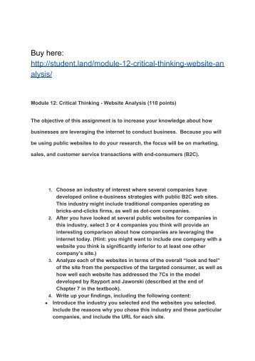modules 1 review and critical thinking 'critical thinking', learning development, plymouth university (2010) generating critical thinking: 1 identify a topic this can be your essay title, a subtopic, or a.