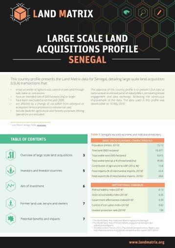 LARGE SCALE LAND ACQUISITIONS PROFILE SENEGAL