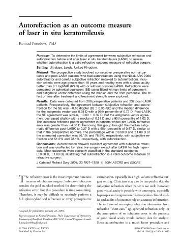 Autorefraction as an outcome measure of laser in situ ... - Pesudovs