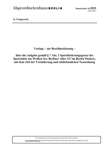 16/3925 - Abgeordnetenhaus von Berlin
