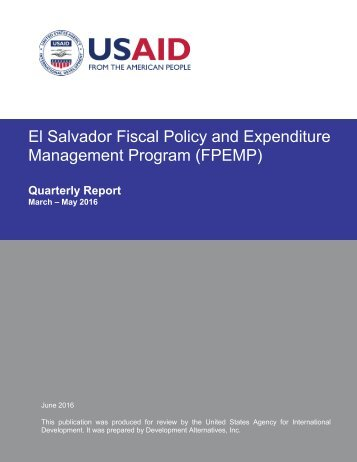 El Salvador Fiscal Policy and Expenditure Management Program (FPEMP)