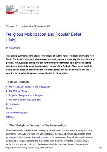 Religious Mobilization and Popular Belief (Italy)
