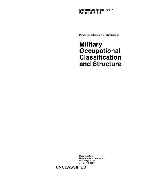Military Occupational Classification and Structure - U S  Army