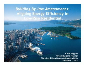 Building By-law Amendments Aligning Energy Efficiency in Low-Rise Residential