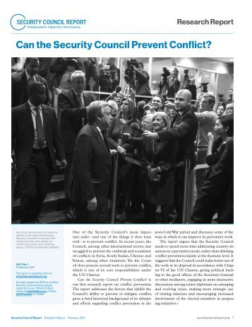Can the Security Council Prevent Conflict?