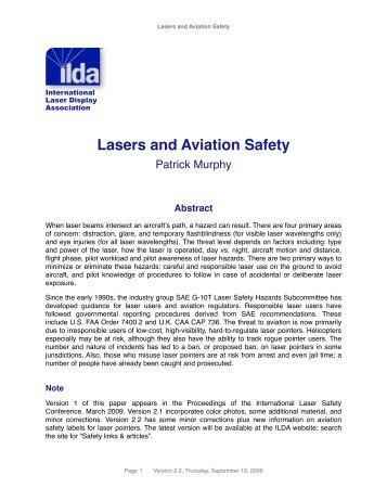 Lasers and Aviation Safety - The International Laser Display ...