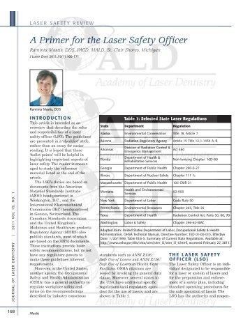 A Primer for the Laser Safety Officer - Academy of Laser Dentistry