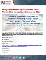 Europe Methadone Hydrochloride Sales Market Trends, Analysis and Forecasts 2021
