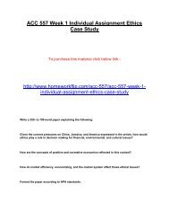 ACC 557 Week 1 Individual Assignment Ethics Case Study