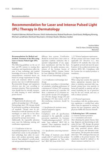 Recommendation for Laser and Intense Pulsed Light (IPL) Therapy ...