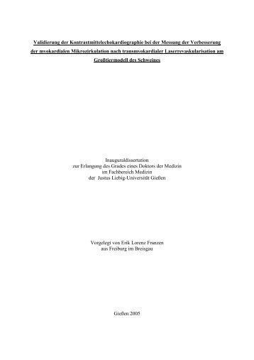 Validierung der Kontrastmittelechokardiographie bei der Messung ...